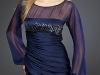 Синее короткое платье с длинным рукавом