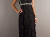 Черное длинное платье с воланами
