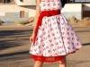 Платье в стиле стиляг красное с белым