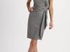 Серое платье из тонкой шерсти с асимметричным вырезом, Carolina Herrera