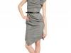 Серое платье из тонкой шерсти с асимметричным вырезом и юбкой, Michael Kors