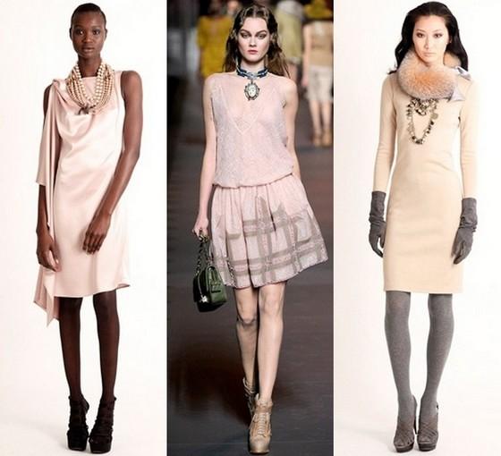 С чем носить бежевое платье