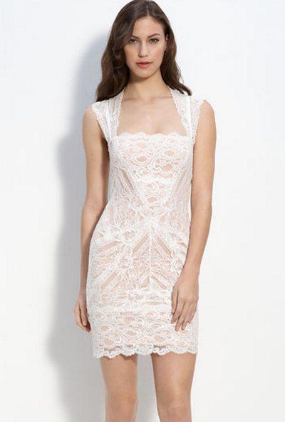 Кружевное свадебное платье короткое от Nicole Miller