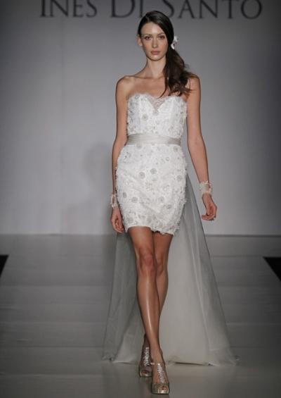 Кружевное свадебное платье короткое от Ines Di Santo