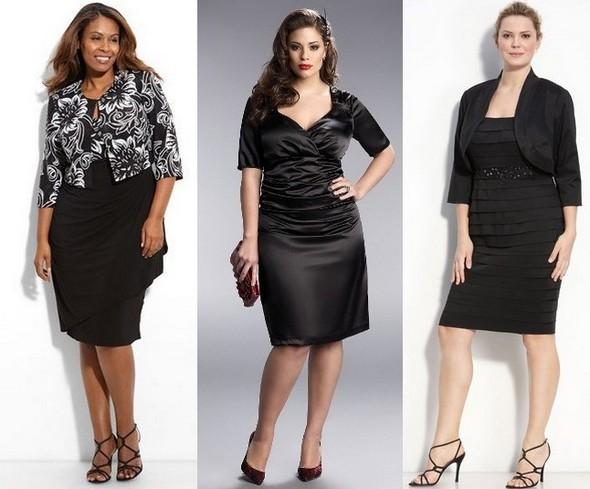 Деловые платья для полных черные