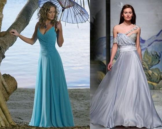Голубое свадебное платье фото