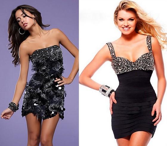 Черные клубные платья