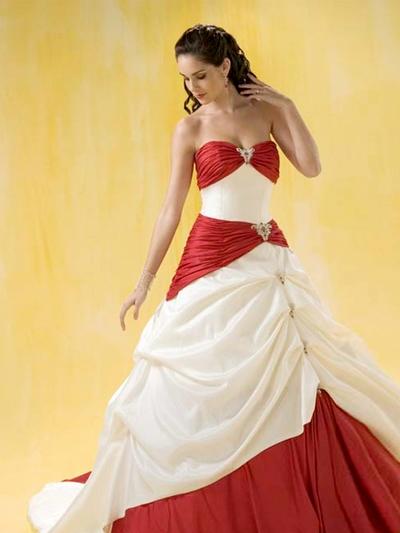 Красно белое свадебное платье фото