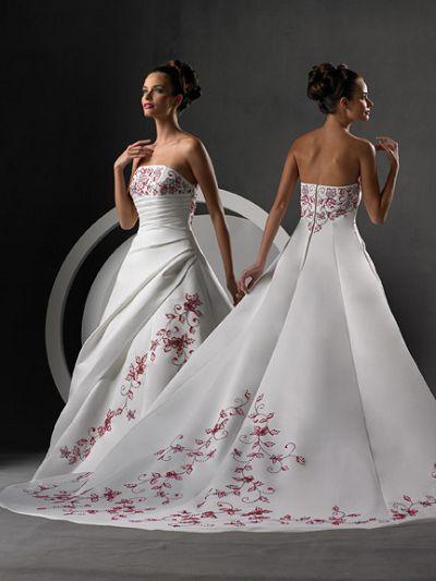 Белое с красным свадебное платье