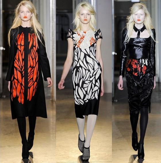 Платья на осень 2011 красно-черно-белые Rue du Mail