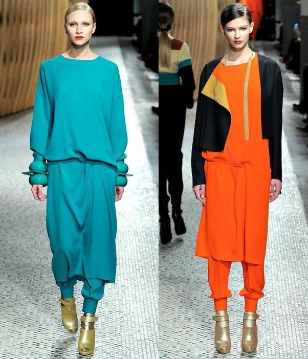 Цветные платья-туники Hermes осень-зима 2011-2012