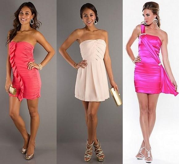 Короткое розовое платье