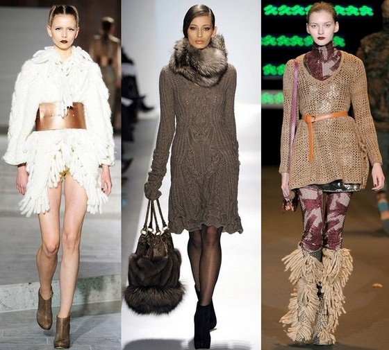 Модные вязаные платья - аксессуары