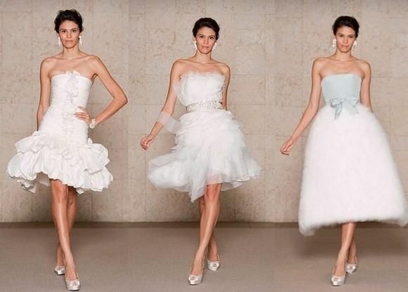 Свадебные платья с короткой юбкой от Oscar de la Renta