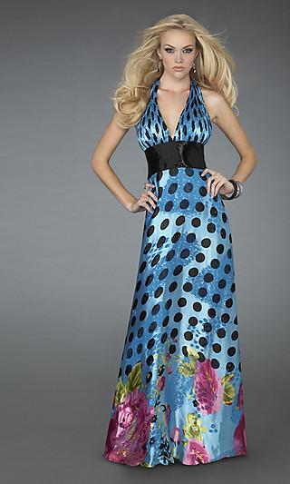 Выпускное платье в горошек с цветочным принтом