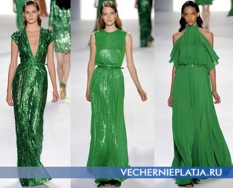 Красивое зеленое платье, коллекция Весна-Лето 2012 Эли Сааб (Elie Saab)