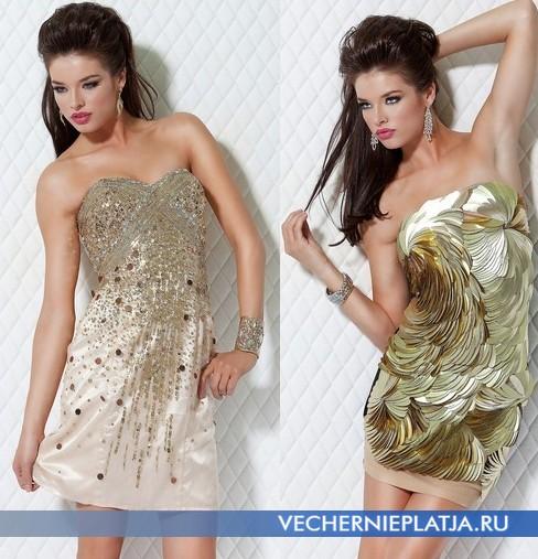 Короткие платья на выпускной 2012 с золотом