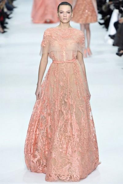 Персиковое свадебное платье от Эли Сааб (Elie Saab)