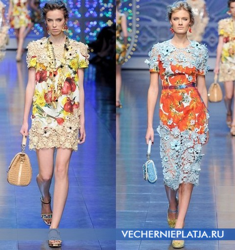 Яркие платья 2012 из кружева от Dolce & Gabbana