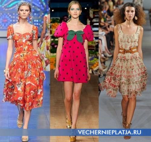 Яркие платья с квадратным вырезом Dolce & Gabbana, Moschino Cheap & Chic, Oscar de le Renta