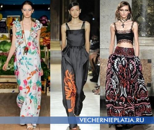 Модные длинные платья с квадратным вырезом декольте от Moschino Cheap & Chic, Martin Grant, Emilio Pucci
