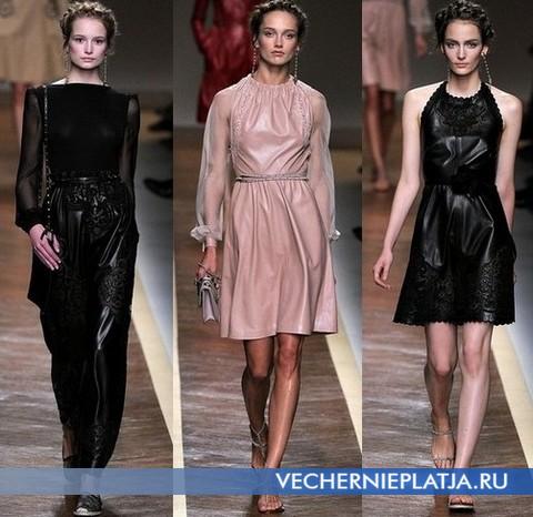 Кожаные платья с вышивкой