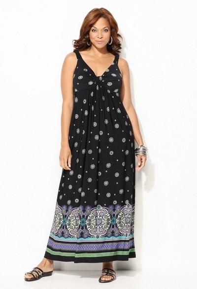 Платье-сарафан для полных из трикотажа