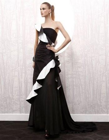 Свадбеное платье черное с белым