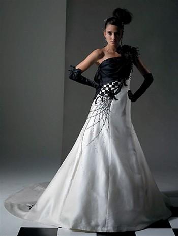 Черно-белые свадебные платья фото
