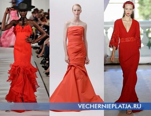 Вечерние оранжевые платья от Oscar de la Renta, Monique Lhuillier, Andrew Gn