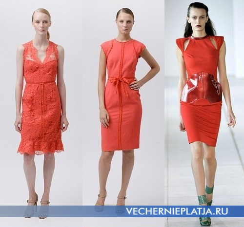 Короткие летние оранжевые платья от Monique Lhuillier и Antonio Berardi