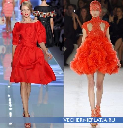 Короткие пышные платья оранжевого цвета от Christian Dior и Alexander McQueen