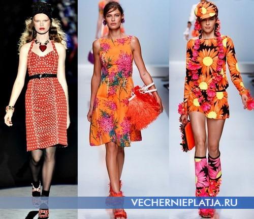 Яркие оранжевые платья от Anna Sui и Blumarine