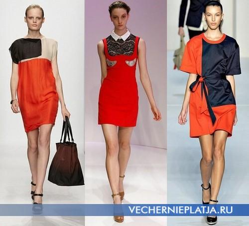 Платья оранжевые короткие Весна-Лето 2012 от Bottega Veneta, Carven, Marc by Marc Jacobs