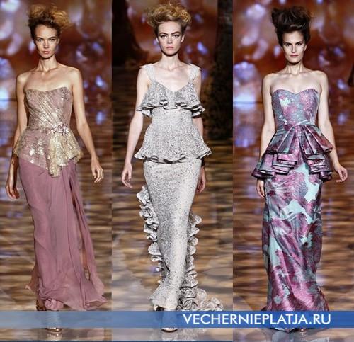 Вечерние длинные платья с баской от Badgley Mischka