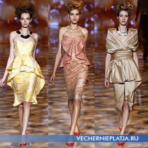 Вечерние платья короткие с баской от Badgley Mischka