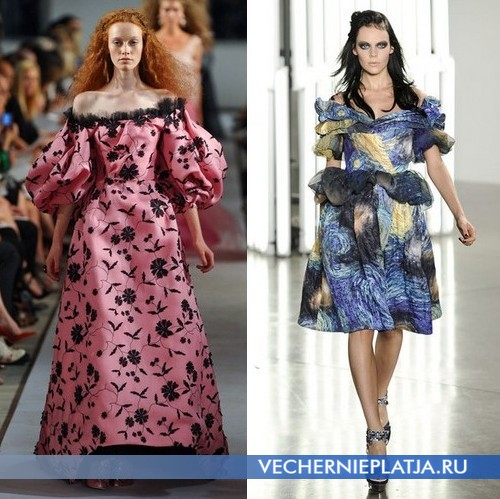 Платья с открытыми плечами от Oscar de la Renta и Rodarte
