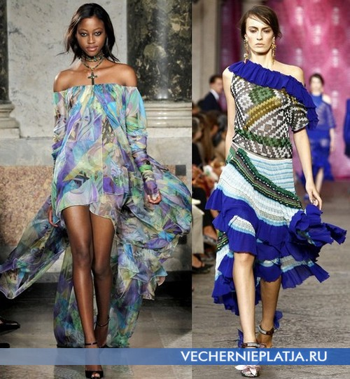 Вечерние платья с открытыми плечами от Emilio Pucci, Missoni