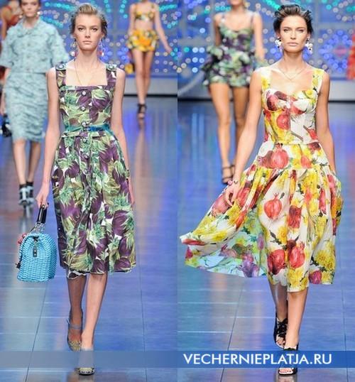 Платья с овощным принтов от Dolce&Gabbana