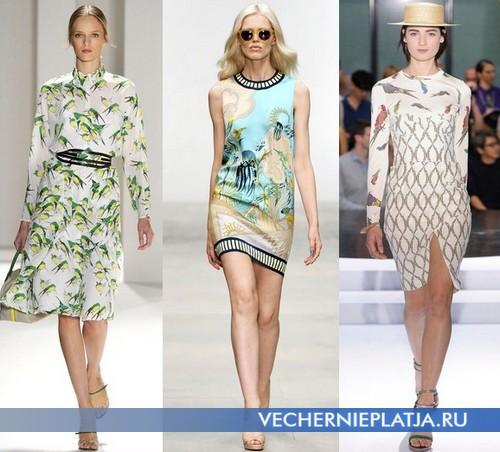 Платья с весенним принтом 2012 от Carolina Herrera, Holly Fulton и Kenzo
