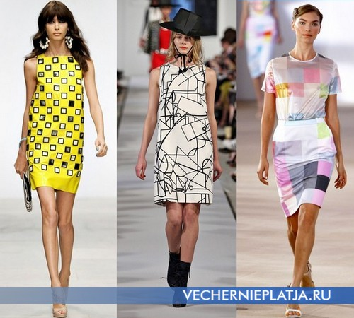 Платья с узорами геометрических фигур от Holly Fulton, Oscar de la Renta, Preen