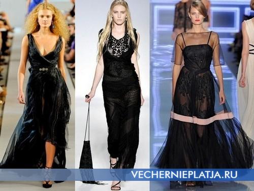 Длинные черные вечерние платья от Oscar de la Renta, Alberta Ferretti, Christian Dior