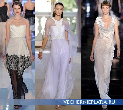 Белые длинные вечерние платья 2012 от Christian Dior, Andrew Gn, John Galliano