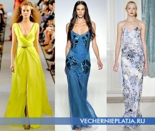 Вечерние платья 2012 длинные, цветовая гамма. Наряды от Oscar de la Renta, Alberta Ferretti, Erdem