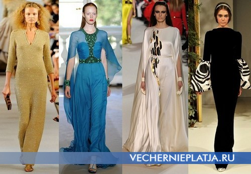 Длинные вечерние платья с рукавом от Oscar de la Renta, Andrew Gn, Stephane Rolland, Yanina