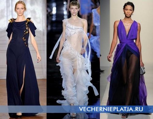 Длинные платья с разрезом 2012 от Nina Ricci, John Galliano, Bottega Veneta