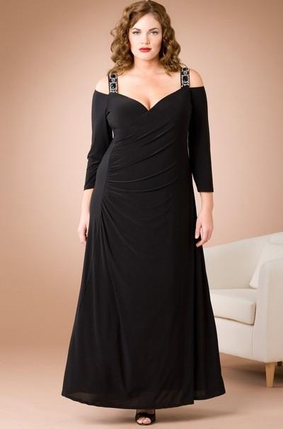 Черное вечернее платье для полных девушек 2012