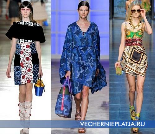 С чем носить этнические платья, Miu Miu, Hilfiger, D&G