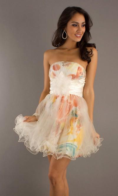 Платье бандо с шифоновой юбкой