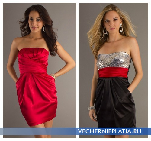 вечерние платья без лямок